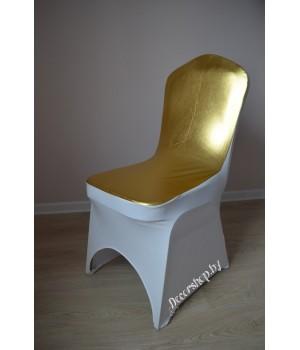 Цветной чехол из спандекса c вырезом для ног (белый+золото)