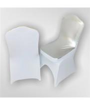 Цветной чехол из спандекса c вырезом для ног (серебро+белый)
