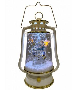 Фонарь рождественский декоративный со снежком