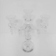 Подсвечник из стекла на 3 свечи со стеклярусом