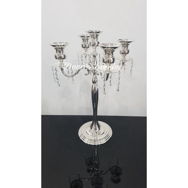Подсвечник со стеклярусом на 5 свечей