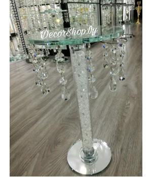 Стеклянная стойка-подставка с хрусталем